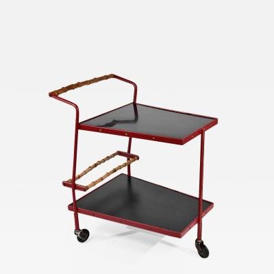 Jacques Adnet superb drinks trolley in red leather bamboo