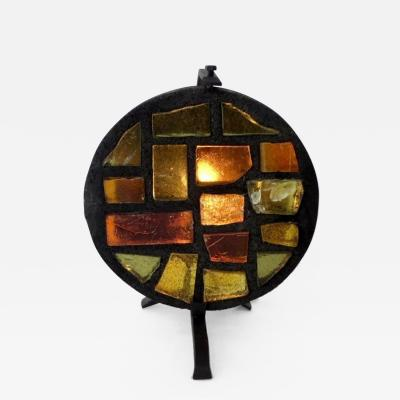 Jacques Avoinet French Multi Color Mosaic Glass and Iron Table Lamp by Jacques Avoinet