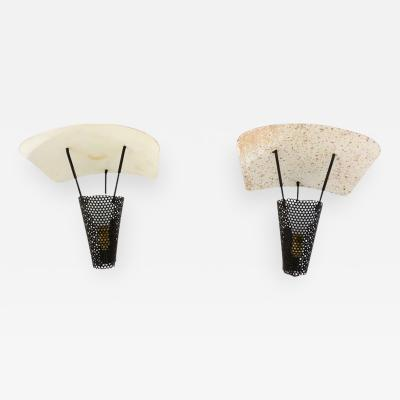 Jacques Biny Mid Century Modern Pair of French Wall Sconces Jacques Biny