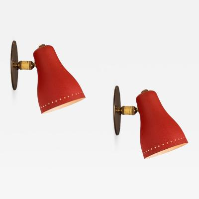Jacques Biny Pair of 1950s Red Perforated Sconces Attributed to Jacques Biny