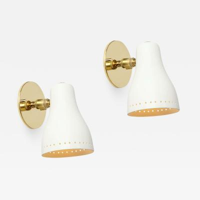 Jacques Biny Pair of 1950s White Perforated Sconces Attributed to Jacques Biny