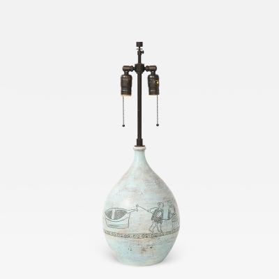 Jacques Blin JACQUES BLIN LAMP INCISED WITH TWO MEN AND A BOAT