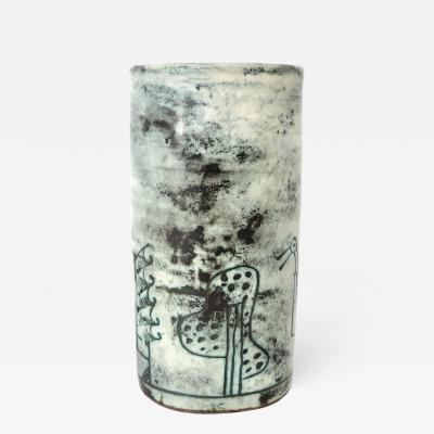 Jacques Blin Jacques Blin French Ceramic Artist Pale Blue Ceramic Cylinder Vase c1960