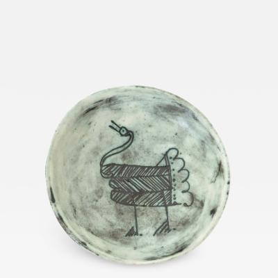 Jacques Blin Jacques Blin French Ceramic Artist Pale Blue Ceramic Footed Bowl 1960