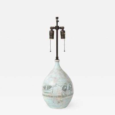 Jacques Blin Lamp in light blue incised with two men and a boat