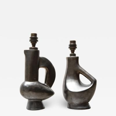 Jacques Blin Rare Small Gunmetal Ceramic Lamps