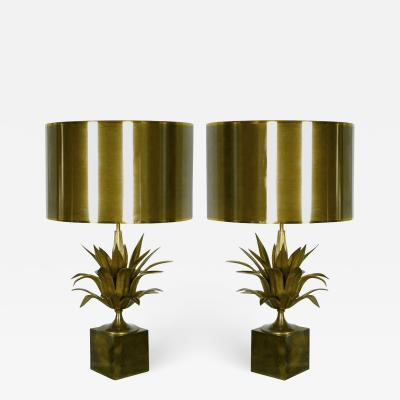 Jacques Charles Pair of Agave lamps Jacques Charles for Maison Charles France circa 1970