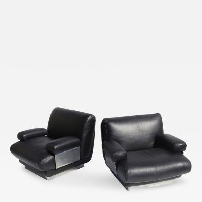Jacques Charpentier Jacques Charpentier Club Chairs in Buffalo Leather and Stainless Steel