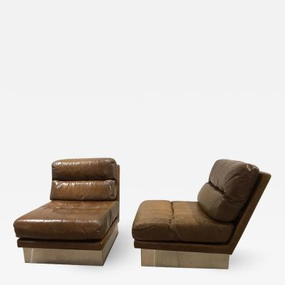 Jacques Charpentier Pair of French 1970s Jacques Charpentier Leather Lounge Chairs