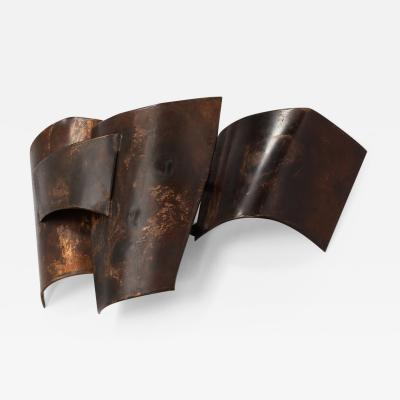 Jacques Couelle Illuminating Brutalist Wall Lamp in Folded Copper Leaf