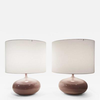 Jacques Dani Ruelland Lampes Aplaties Rose Pair of Ceramic Table Lamps