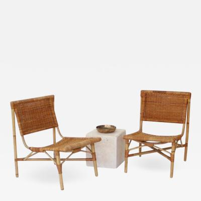Jacques Dumond FRENCH RATTAN AND BAMBOO LOW LOUNGE CHAIRS ATRRIBUTED TO JACQUES DUMOND