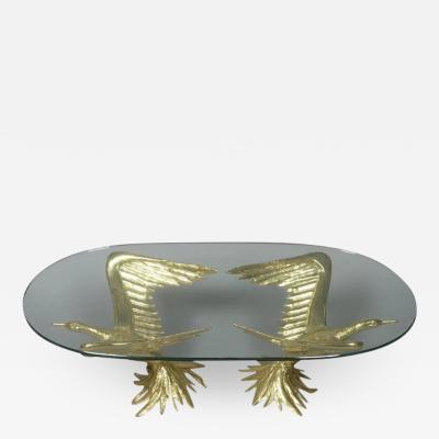 Jacques Duval Brasseur 1970s Designer Table by Jacques Duval Brasseur with Pair of Winged Birds
