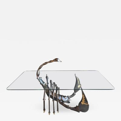 Jacques Duval Brasseur Brass Scorpion Coffee Table Attributed to Jacques Duva