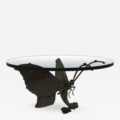 Jacques Duval Brasseur Bronze Butterfly Coffee Table Base by Jacques Duval Brasseur