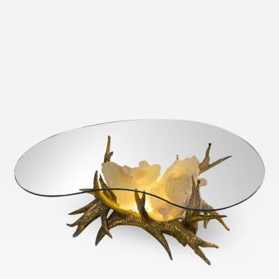 Jacques Duval Brasseur Duval brasseur spectacular gold bronze and rock crystal coffee table