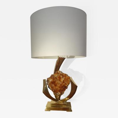 Jacques Duval Brasseur Elegant Gilt Brass and Quartz Table Lamp by J Duval Brasseur 1970s
