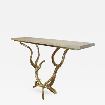 Jacques Duval Brasseur Important Gilt Brass Branches Console 1970s by J Duval Brasseur France