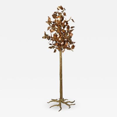 Jacques Duval Brasseur Impressive Sculptural Illuminated Tree in Brass Copper