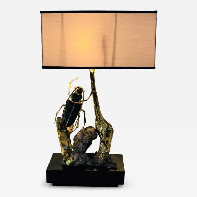 Jacques Duval Brasseur Jacques Duval Brasseur Brass Beetle Table Lamp