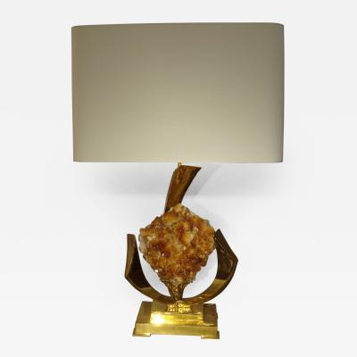 Jacques Duval Brasseur Lovely Gilt Brass and Quartz Table Lamp by J Duval Brasseur 1970s