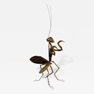 Jacques Duval Brasseur Mid Century Modern Praying Mantis Brass Sculpture by Jacques Duval Brasseur 1970