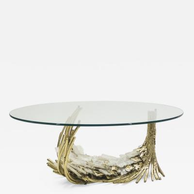 Jacques Duval Brasseur Unique Hollywood Regency Jacques Duval Brasseur bronze stones coffee table 1970s