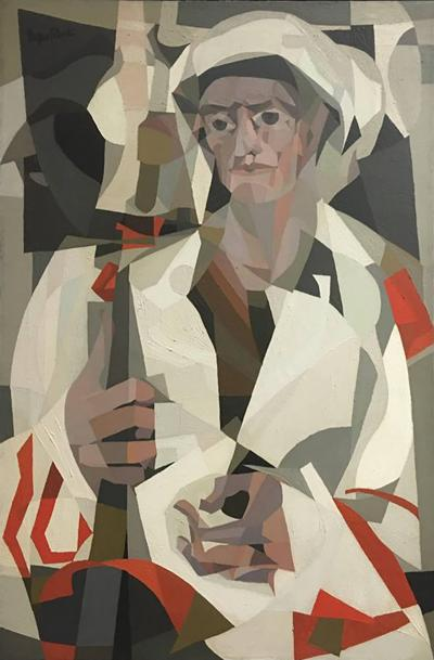Jacques Fabert Jacques Fabert Cubist Oil Painting Guard in Tripoli