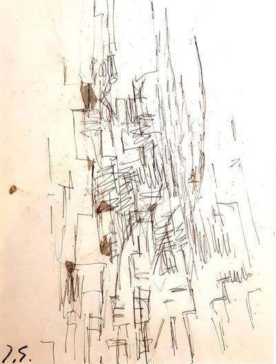 Jacques Germain Jacques Germain Untitled Original Signed Drawing C 1970