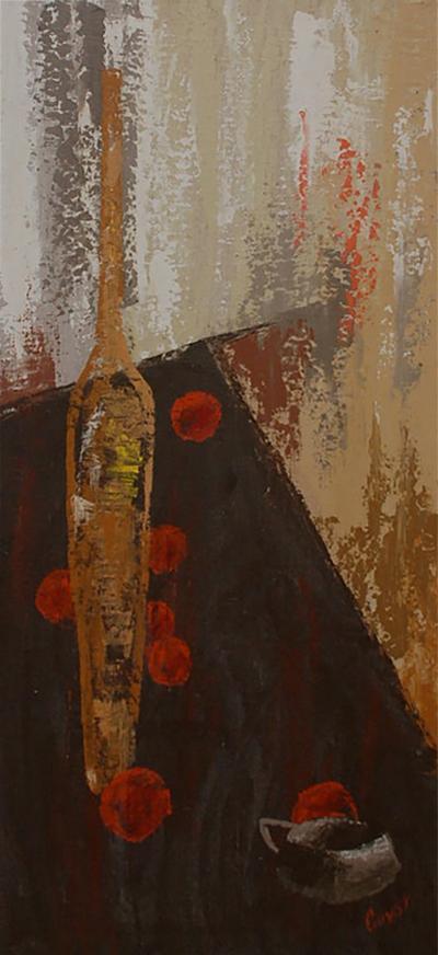 Jacques Henri Guyot France artist Jacques Henri Guyot Tall Oil on Canvas Abstract Art Modern 1950s