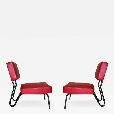 Jacques Hitier Pair of French Mid Century Modern Industrial Lounge Chairs Jacques Hitier 1955