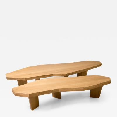 Jacques Jarrige Double Coffee Table in Oak by Jacques Jarrige