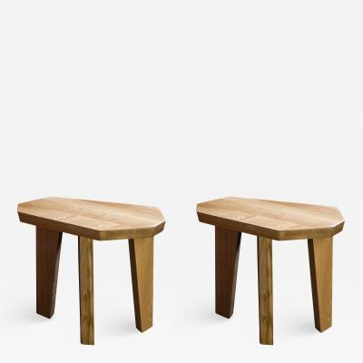 Jacques Jarrige Pair of SIDE TABLES in Oak by Jacques Jarrige Nazca