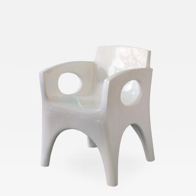 Jacques Jarrige Sculpted ARMCHAIRS by Jacques Jarrige in White Lacquer