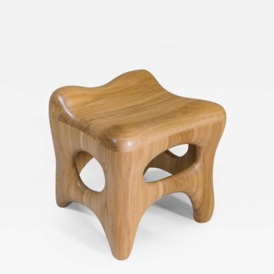 Jacques Jarrige Stool Sculpted in Oak by Jacques Jarrige