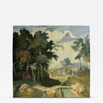Jacques Lamy Hand Painted Romantic Italian Landscape Folding Screen