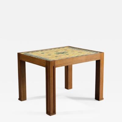 Jacques Lenoble Oak and Glazed Ceramic Tile Occasional Table