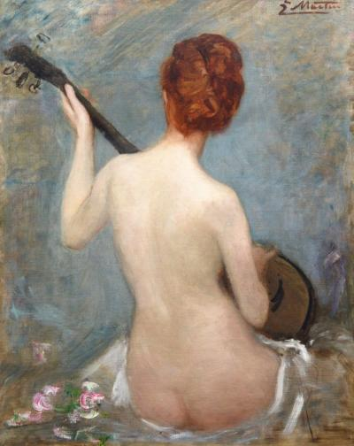 Jacques Martin The Lute Player 19th Century French Impressionist Nude Oil Painting