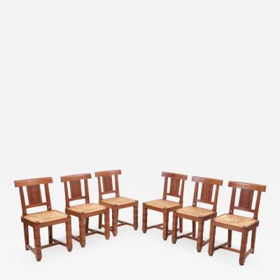 Jacques Mottheau Set of Six Wooden Chairs by Jacques Mottheau France 1930s