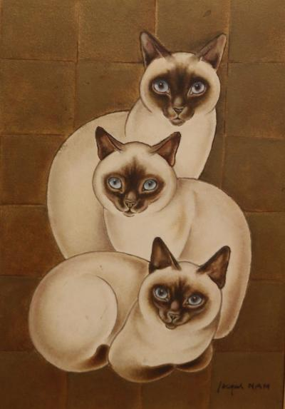 Jacques Nam 3 Siamese Cats oil on panel by Jacques Nam 1881 1974 France Art Deco 1930s