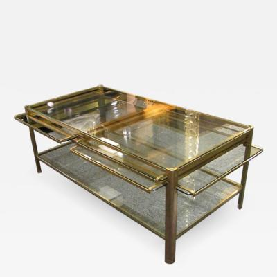 Jacques Quinet Coffee table with pulls in bronze and glass Jacques Quinet France circa 1960