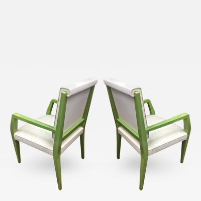 Jacques Quinet Jacques Quinet Chicest Rare Green Lacquered Pair of Chairs Newly Covered