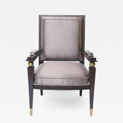 Jacques Quinet Jacques Quinet French Modern Dark Rosewood Brass and Parcel Gilt Armchair