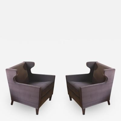 Jacques Quinet Jacques Quinet Pair of Chic Wing Chairs
