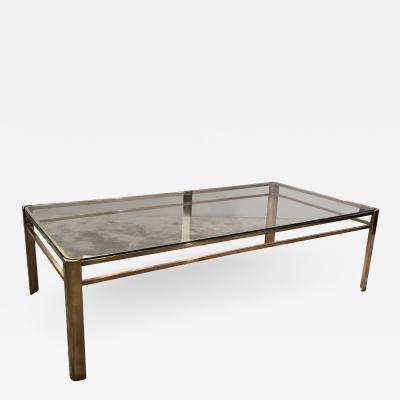 Jacques Quinet One Tier Bronze and Glass Coffee Table by Jacques Quinet for Maison Malabert