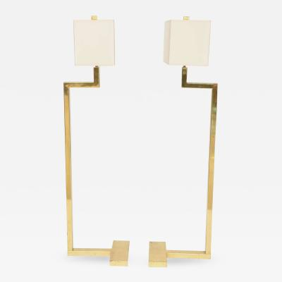 Jacques Quinet Pair of French Modern Brass Floor Lamps Jacques Quinet