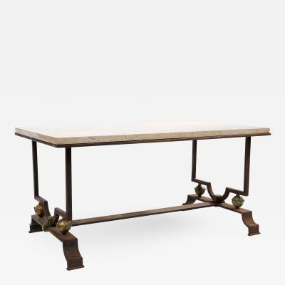 Jacques Quinet Quinet Poillerat Wrought Iron Coffee Table