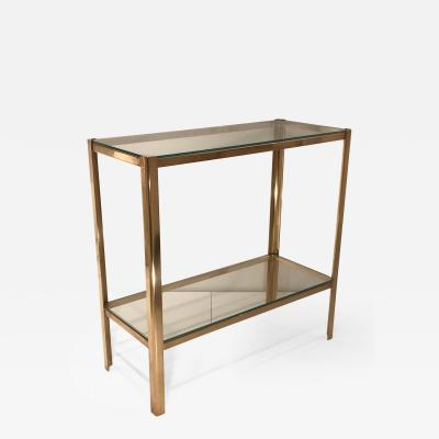 Jacques Quinet Two Tier Bronze and Glass Side Table by Jacques Quinet for Maison Malabert