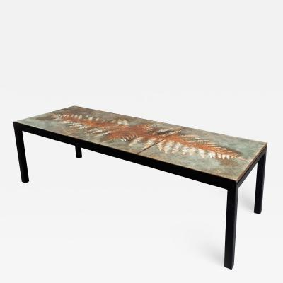 Jacques Serre Enameled Lava Stone Table with Metal Base