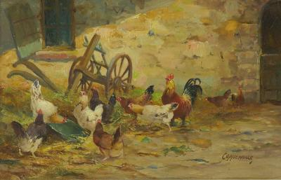 Jacques van Coppenolle French Painting of Farmyard Poultry by Jacques van Coppenolle